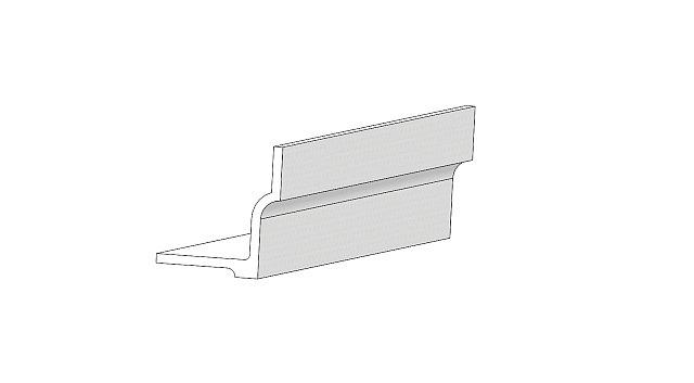 G20-19 Gesims - Tegning af gesims produceret af Polysan i polymerbeton og brugt som en del af Ollerup gesimsen